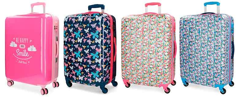 Maletas originales y coloridas con estampados de mariposas, flores y rosa chicle - Roll Road
